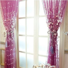 Luxury Romantic Lace Fabric Girls Tulle Yarn Window Sheer Curtain  Elegent Livingroom Bedroom Voile  Cortinas para sala