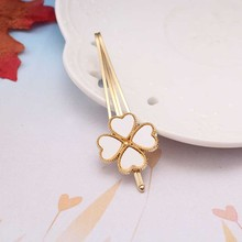 M MISM New Clover Leaves Gold Plated Hair Clip Barrettes Hair Accessories Fashion Girls Women Cute Heart Headwear Hairpins(China)