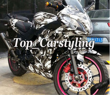 152cm x 60cm Black white grey Snow Camo Vinyl For Motorcycle /Car Wrapping styling Covering film With air bubble Free Wrapskin(China)