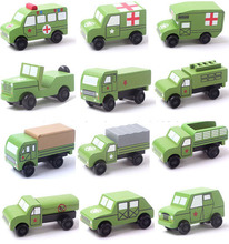 Free Shipping small wooden mini cars set military jeep truck rescue car models toys for chilldren 12pcs per lot(China)