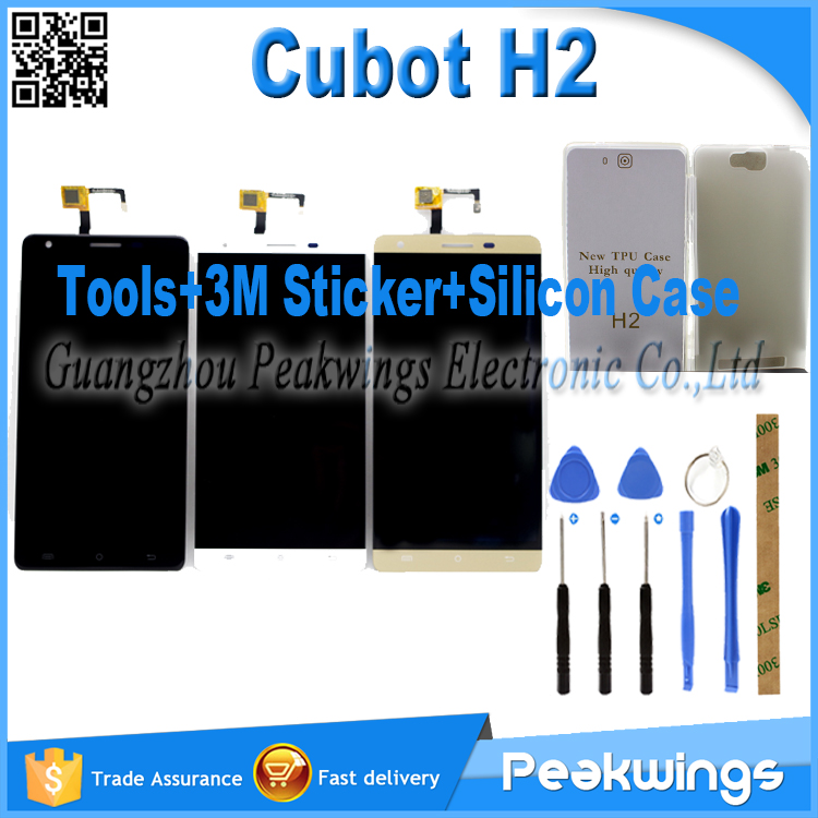 Black&amp;White&amp;Gold Touch Sensor For Cubot H2 LCD Display Touch Screen Digitizer Assembly +Tools+3M Sticker+Silicon Case<br>