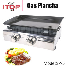 Stainless Steel 2 Burners Gas Plancha Design For Outdoor Use Gas Grill Enamel Cooking Plate CE(China)