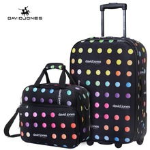 DAVIDJONES 20 inches Carry-on suitcase & make-up bag luggage Set fixed wheels trolley(China)