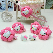 LYSUMDUOE Hello Kitty Hair Accessories Christmas Gift Bow Ring Flower Girl BB Clip Cute Headband Hairpin Hairband Jewelry Set