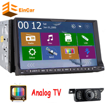 Analog TV 2Din Head unit In Dash Car Stereo Video Player GPS Navigation with free GPS map+TV+ iPod+FM/AM steering wheel control