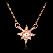 Charm Star Choker Necklace Rose Gold Starburst White Crystal Pendant Necklaces For Women DIY Gift Fashion Jewelry