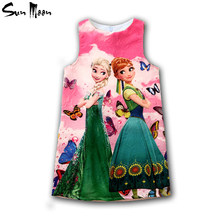 Princess Anna Elsa dress snow queen girl dresses summer 2016 toddler girls clothes brand kids costume cosplay children clothing