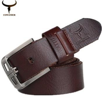 Cowather 2016 100% top vaca cinturones de cuero genuino para hombre cinturón de hebilla de la aleación de diseño de estilo de moda exquisita masculina envío libre