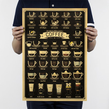 Italian coffee esprsso C style/coffee set/kraft paper/Cafe/bar poster/ Retro Poster/decorative painting 51x35.5cmFree shipping