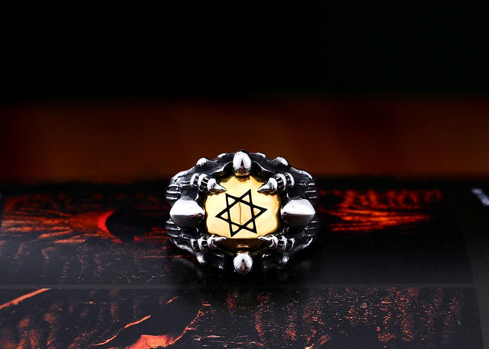 แหวนโคตรเท่ห์ Code 025 แหวนดาว6แฉกอุ้งมือมังกร สแตนเลส6