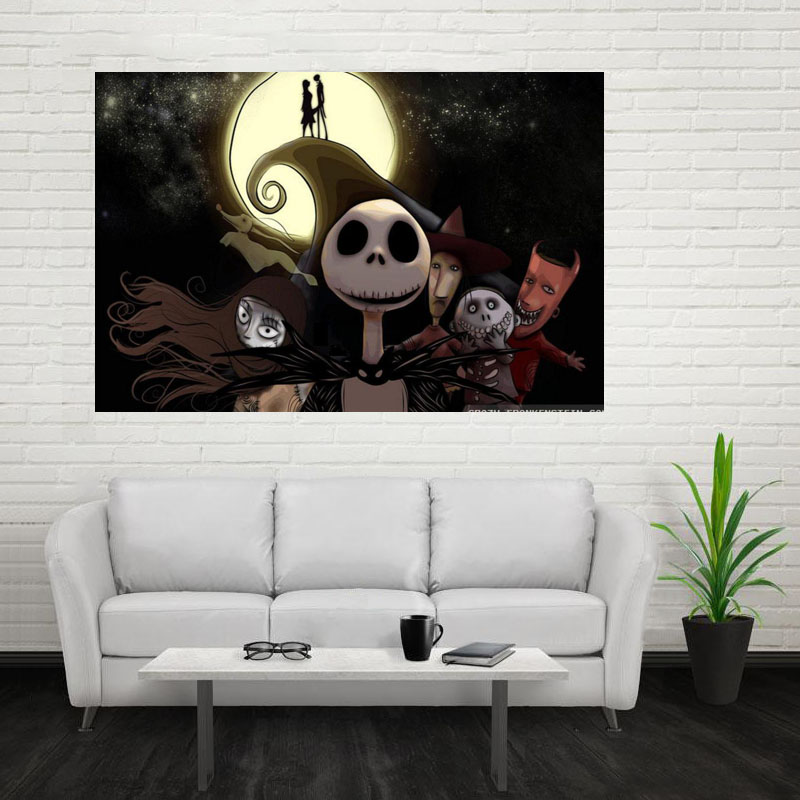 Nice The Nightmare Before Christmas Poster Custom Canvas Poster Print Cloth  Fabric Wall Poster Print Silk Part 57