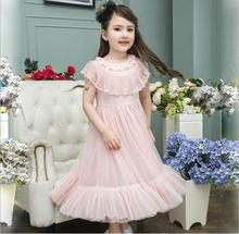 White Pink Girl Dress 2017 Korea Girls Lace Tulle Dress Beautiful Princess Belle Dresses High-quality Goods Childrens Clothes(China)