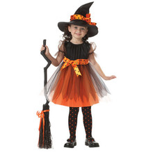 pudcoco 2-7Y baby girl Witch Toddler Girl Halloween Fancy Dress Party Costume Outfit Clothes + HAT bebe sunsuit Set dresses