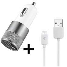 USB Car Charger Quick Charge 2.0 Adapter for Samsung Galaxy S6 Xiaomi iPhone 6s+Micro USB Charging Cable for Samsung Android