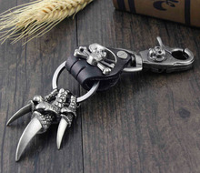 Claw Skull Clasp Trigger Clips Key Chain Biker Roker Car Key Ring Keychain KR02(China)