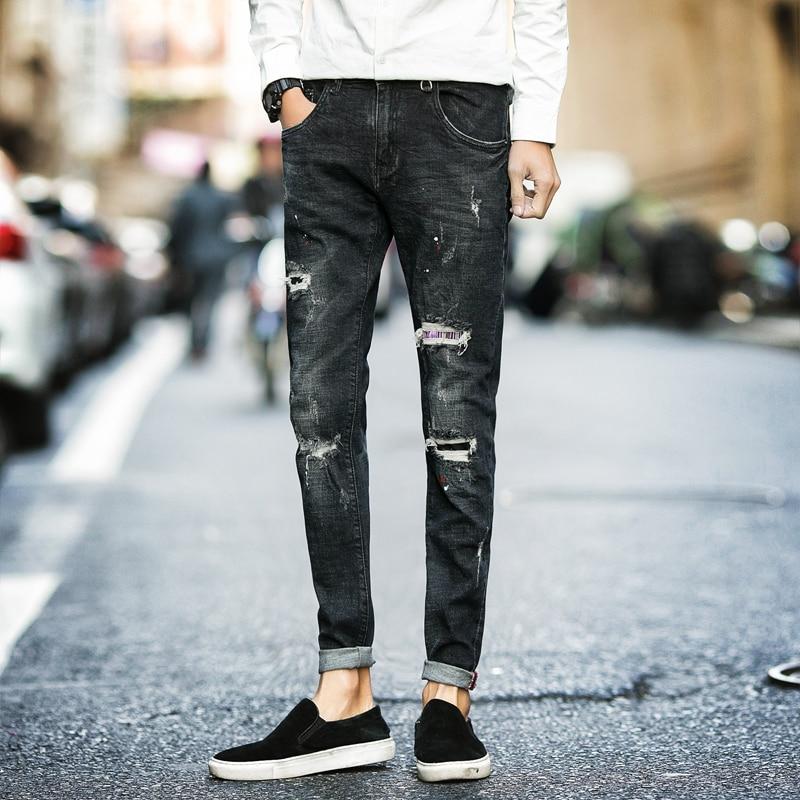 2017 Spring New Jeans Men Korean Slim Fit Stretch Ripped Jeans For Men Quality Cotton Casual Denim Pant Men Trousers Black 28-34Одежда и ак�е��уары<br><br><br>Aliexpress