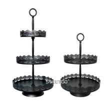Black Two/Three Tier Cake Stands Wedding Birthday Cake Decorations Coffee Bar Baking Shop Display Cake Cupcake Trays Food Plates