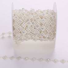 1Yards Sewing Accessories 12mm  Rhombus Pearls Clear Crystal Rhinestone Trimming Cup Chain