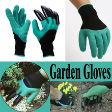 2017 High Quality 1Pair of Rubber Polyester Garden Genie Gloves for Digging & Planting with 4 ABS Plastic Claws Gardening Gloves(China)
