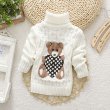 2017 Lovely Boys Girls Sweater Children's Sweaters Long Sleeved Tops for Kids Children Clothes Cartoon Beer Turtleneck Multi