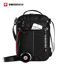 Swisswin Shoulder Bag Small Messenger Bag for Tablets Men's Black Handbag 11-inch Crossbody Bags for students Men Satchel Bag