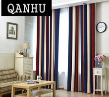 QANHU European style Color Blackout Bars Jacquard Curtains for Bedroom Tulle Curtains Sets in the Nursery Drapery Window #1-7(China)