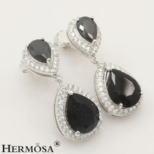 "Awesome Genuine AAA Black ONYX 925 Sterling Silver Beautiful Pear Earrings 1"", Free Shipping"