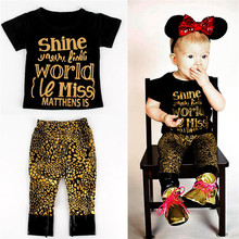 Wholesaler  2017 Newest  Kids Gold Clothing Set Ins Cotton  Girls Printing Clothes Set Letter  Children Suits