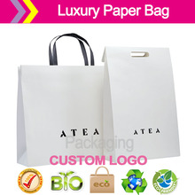 Luxury carrier bag collection white Kraft paper shopping bags Foil block, screen print, die cut, crease(China)