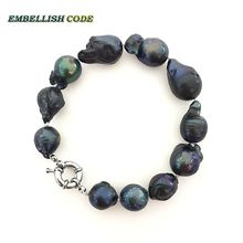 NEW GOODS Bracelet big size black color tissue nucleated flame ball shape baroque Irregular natural pearl freshwater special