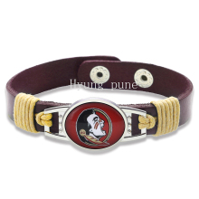 6pcs/lot! Florida State Seminoles Adjustable Genuine Leather Bracelet for Men Women Snap Button Charm Leather Cuff Jewelry(China)