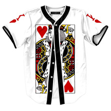 Cool Baseball Jersey T Shirt Men Brand Poker Printed Casual Fitness Tee Shirt Homme Single Breasted Cardigan Funny T Shirts XXL(China)