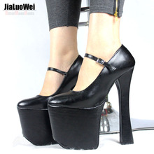 "Black patent platform Mary Janes with chunky 7 1/2"" heel with 3 1/2"" platform high heel pumps Cosplay shoes"