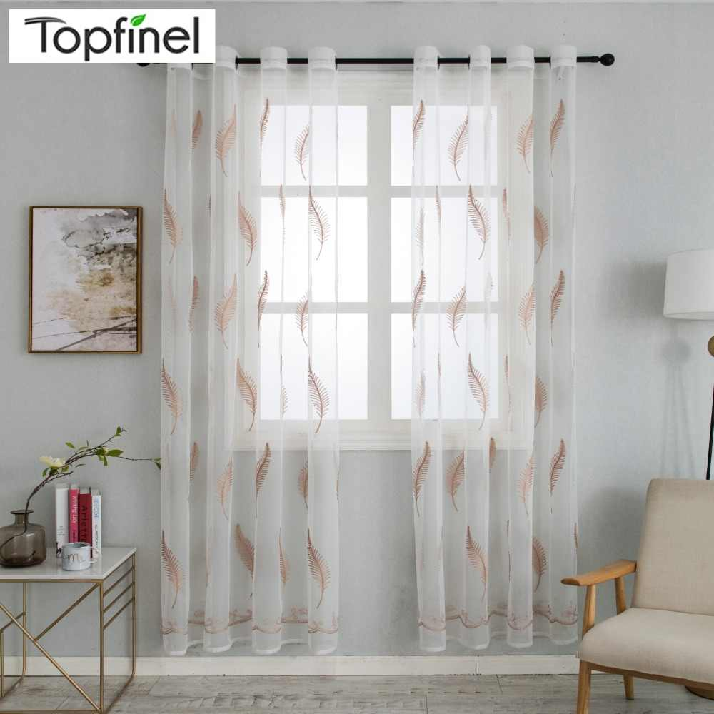 Topfine New Luxury Feather Embroidered Voile Sheer Curtains Tulle Decorative Net Curtains for Living Room the Bedroom Kitchen