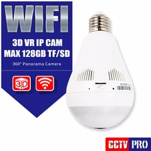 Bulb Light 960P Panoramic Wifi Camera Wireless P2P Network Fisheye IP Camera LED Home Security System For IOS Android