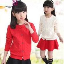 2017 Spring Autumn Long Sleeves Girls Sweater Kids Cardigan Girls Clothes Baby Cardigan Bow School Girl Coats And Jackets JW1415