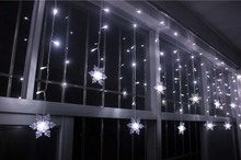 YIMIA 3.5M Snowflake LED Curtain Lights icicle fairy String Christmas Holiday Lights Gerlyanda New Year Wedding Party Decoration