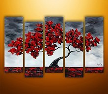 Cherish Art HandPainted Oil Paintings Beautiful Maple Tree Swaying In The Wind Wall Art For Living Room Art Work Home Decoration(China)