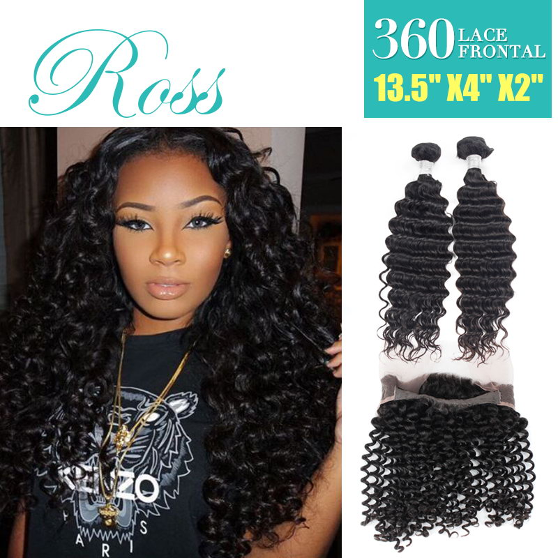 7A 360 lace frontal brazilian deep wave full lace frontal closure with bundles 2/3pcs free DHL days deep curl can be dyed<br><br>Aliexpress
