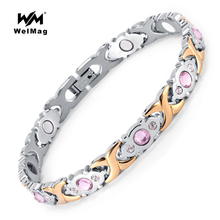 WelMag 2017 Fashion Crystal Gem Woman Magnetic Bracelet Top Quality Stainless Steel Germanium Healing Jewelry Bio Energy Bangles(China)