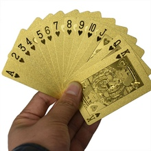 New 4K Carat Gold Foil Plated Poker Game Playing Cards Gift Collection And Certificate Playing Cards(China)