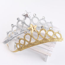 Kids Girl Princess Crown Headband Glitter Felt Vintage Gold Silver Tiara Hairbands Birthday Gift Party Head Accessory Head Wear(China)