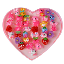 Cute 36pcs/ lot Children Cartoon Rings Lovely Resin Animal Flower Barbie Doll Heart-Shap Ring Box For Baby Girl Christmas Gift(China)