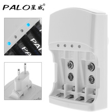 PALO 4 Slots Quick Battery Charger Over Temperature Protection for AA AAA 9V Ni-MH NiMH Ni-Cd Battery Support Mixed Charging(China)