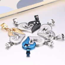 1 Pair Lover Couple Necklace Titanium Steel Inlay Rhinestone Heart Puzzle Men And Women Necklaces Jewellery Accessories