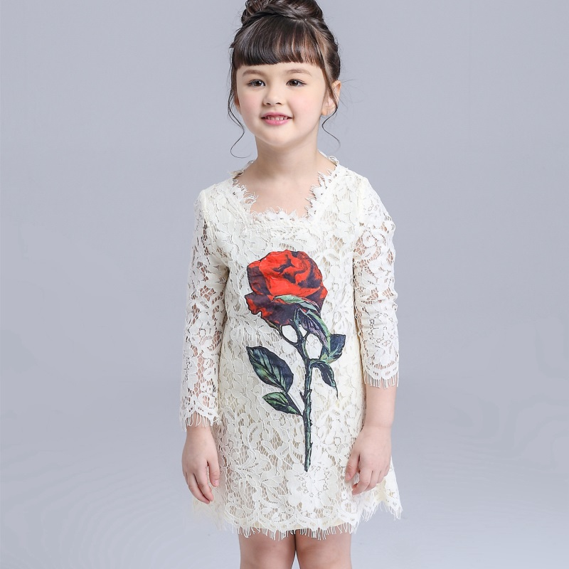 White Lace Dress Spring Flowers Pearls Girls Dress Girls Clothing Princess Party Birthday Dovetail Dresses Girl Costume Kids<br>