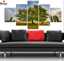 5 Pieces Wall Art setting sun Sunshine HD Picture Home Decoration Canvas Print Green Tree Grassland Scenery Paintings A123