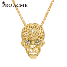 Pro Acme Gold Colour Skeleton Sweater Chain Necklaces & Pendants for Women Crystal Long Necklace Jewelry Accessories PN0772(China)