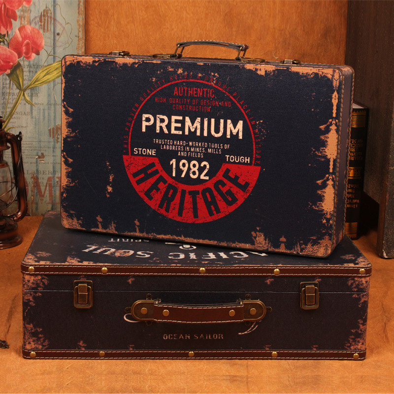 New retro suitcase antique to do the old wooden storage box finishing filming props wholesale window display<br><br>Aliexpress