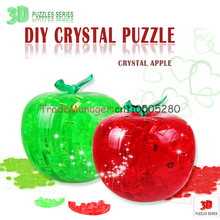 Flash 3D three-dimensional crystal jigsaw birthday DIY creative gift puzzle toy with light apple